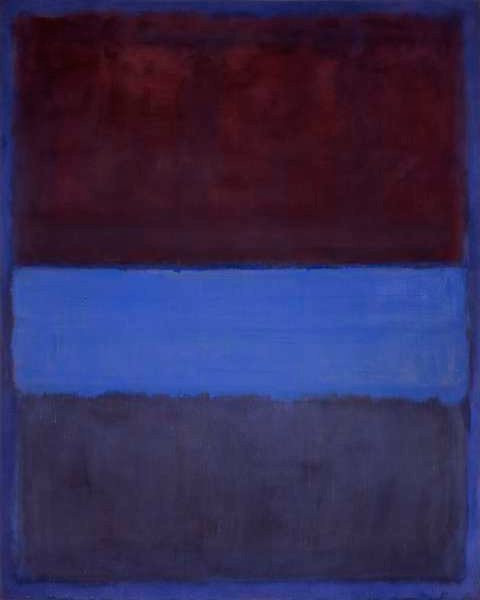 """""""Rust and Blue,"""" by Mark Rothko. Presented under fair use guidelines for criticism."""